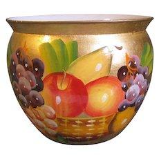 Vintage Jardiniere (Pot) Gilded Hand-Painted Fruit, KEWDOS England