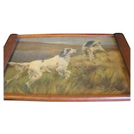 Large Arts & Crafts Wood Tray, Hunting Dog Print Under Glass