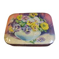 Vintage Blue Bird Toffee Tin, Lovely Bowl of PANSIES