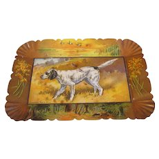 Vintage Small Metal Tray (Tip or Calling Card), Hunting Dog