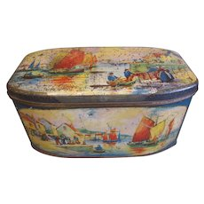 Very Early British Biscuit Tin, Seaside, Boats, Dutch, BW&M