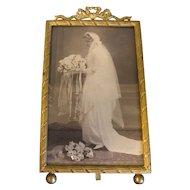 Lovely Brass Rectangular Photograph Frame, French Bow
