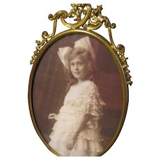 Lovely Antique Brass Oval Table-Top Photograph Frame