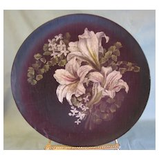 Circa 1900 Folk Art Painted Wooden Plate, Lilies