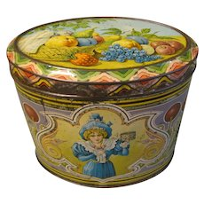 Lovely Vintage Art Nouveau European Candy Tin, Oval, FRUIT