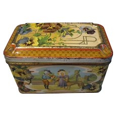 Lovely Small European Biscuit Tin, Pansies, Children, Dogs