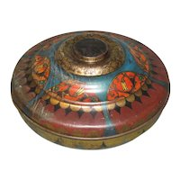 Large Round Vintage Candy Tin, Art Deco Design, Passaic