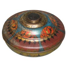 Large Round Vintage Candy Tin, Art Deco Design, Passaic