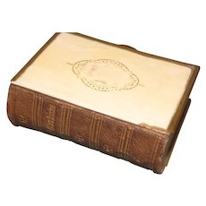 """Lovely Small Book, """"CHURCH SERVICES"""" Celluloid & Leather"""