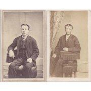 Pair of Victorian Photograph Carte de Visite Cards, Young Men