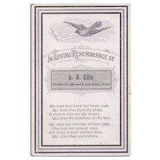 Cabinet Photo Sized Remembrance Card, L.A. Ellis