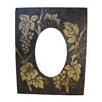 Lovely Flemish Art Pyrography Photograph Frame Grapes