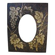 Lovely Flemish Art Pyrography Photograph Frame Grapes