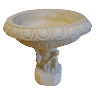 Lovely Vintage Alabaster Compote, Cupid Base