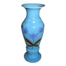 Lovely Vintage Blue Bristol Glass Vase, Painted Flowers