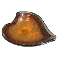 Large Vintage Leaf or Heart Shaped Murano Glass Dish, Gold