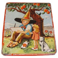 Small Flat Candy Tin, Vintage, Young Artist Under an Apple Tree