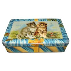 Lovely Teal Blue Biscuit Tin, Kittens