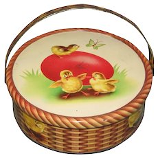 Small Round Tin, Easter Basket with Egg and Chickens