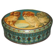 Vintage Cocoa Tin, De Jong, Oval with Pekingnese Puppies