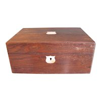 Antique Large Letter Box, Mother of Pearl Insets