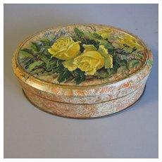 Small Vintage European Cocoa Powder Tin, Yellow Roses