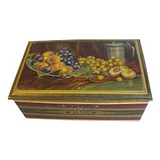 Lovely Vintage European Biscuit Tin, Fruit Still Life