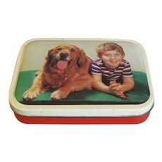 Cute Vintage Blue Bird Toffee Tin, Boy & Dog