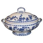Lovely Large Flow Blue Minton Delft Soup Tureen w/Lid