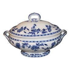 Lovely Large Flow Blue Minton Delft Soup Tureen w/Lid