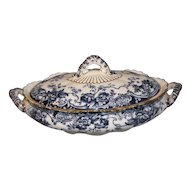 Lovely Dark Flow Blue Vegetable Bowl/Lid CHATSWORTH