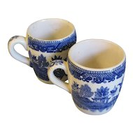Pair of Early Japan Blue Willow Mugs