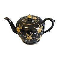 Vintage English Teapot, Black with Enamel/Gilt Decoration