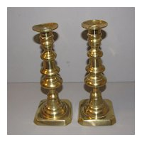 Vintage English Brass Candlesticks, Push-up