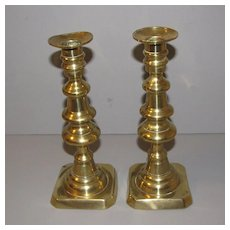 Vintage English Brass Candlesticks, Push-up
