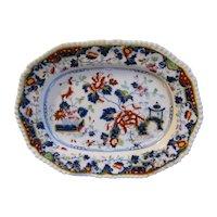 Lovely 19th C. English Oriental Design Platter, Enamels