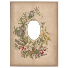 Lovely Floral Page From Victorian Photograph Album, CDV