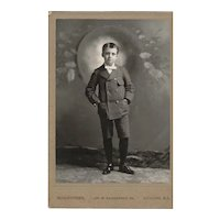 Cabinet Photograph Card of Young Boy.  Unusual Background
