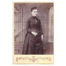 Cabinet Photograph of Young Woman in Victorian Dress
