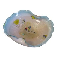 Lovely Vintage Murano Art Glass Bowl, Blue