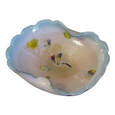 Lovely Vintage Murano Art Glass Bowl, Blue