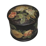 Lovely Round Papier Mache Powder Box, Roses