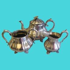 Lovely James Dixon Silverplate 3-Piece Tea Set