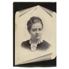Cabinet Photograph Card with Young Woman, Unusual Background