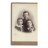 Cabinet Photograph Card with Three Young Boys with Large Bow Ties