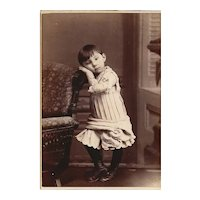 Adorable Photograph Card of a Young Girl, Outstanding Dress