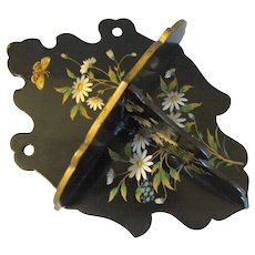 English Papier Mache Wall Shelf W/Daisies