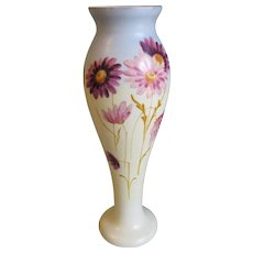 Large Lovely Painted Bristol Vase, Blue, Yellow, Lavender