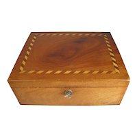 Lovely Antique Mahogany Box, Wood Inlay