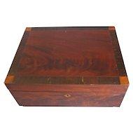 Antique Mahogany Writing or Sewing Box, Inlay